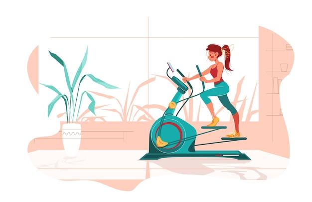 自宅でのフィットネス。女の子は部屋のステッパーマシンで運動します