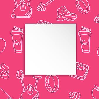 피트 니스 배경 손으로 그려진 된 체육관 및 3d 종이 접시. 건강한 운동과 운동을위한 낙서 요소
