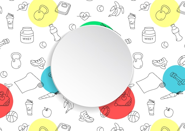 Fitness background with hand drawn gym and 3d paper plate. doodle elements for healthy workout and exercise