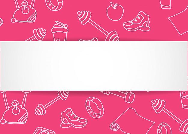 손으로 그린 체육관 패턴 및 3d 종이 접시와 함께 피트 니스 배너. 건강한 운동과 운동을위한 낙서 아이콘. 스포츠 라이프 스타일 라인 아트. 판매, 특별 행사, 전단지 및 광고를위한 세련된 피트니스 배너입니다.
