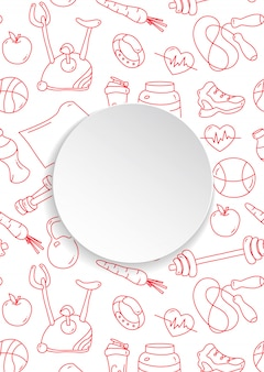 손으로 그린 체육관 패턴 및 3d 종이 접시와 함께 피트 니스 배너. 건강한 운동과 운동을위한 낙서 아이콘. 스포츠 라이프 스타일 라인 아트.
