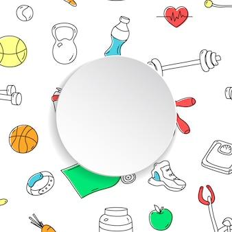 手でフィットネスバナーには、ジムのパターンと3 dの紙皿が描かれています。