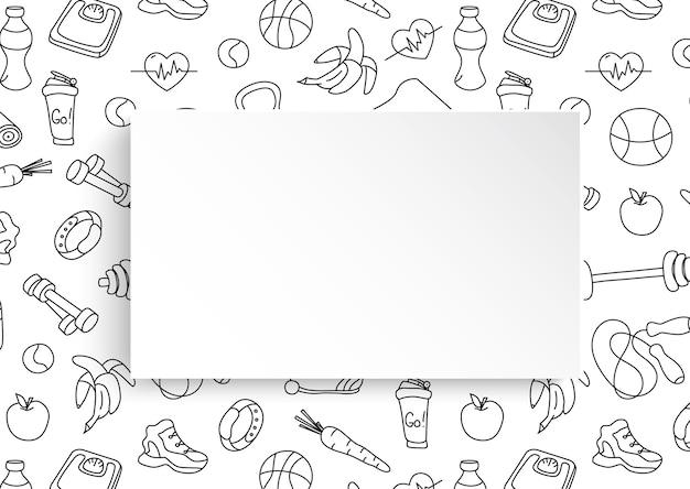 Знамя фитнеса с нарисованной рукой картиной спортзала и бумажной тарелкой 3d.