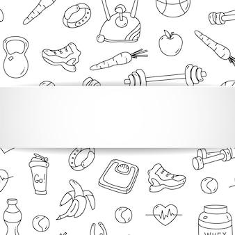 手描きのジムパターンと3d紙皿のフィットネスバナー。