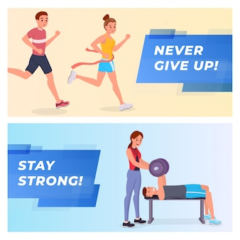 Fitness banners set