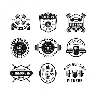 Fitness barbel gym logos collections