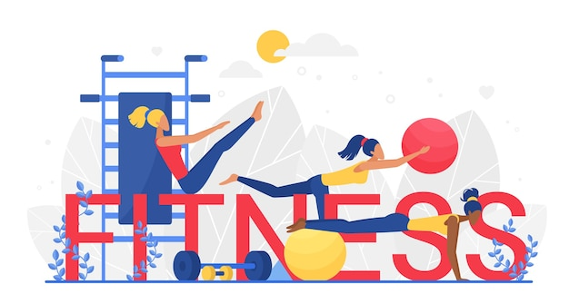 Fitness big letters word concept, woman doing sport exercises with ball and dumbbell equipment