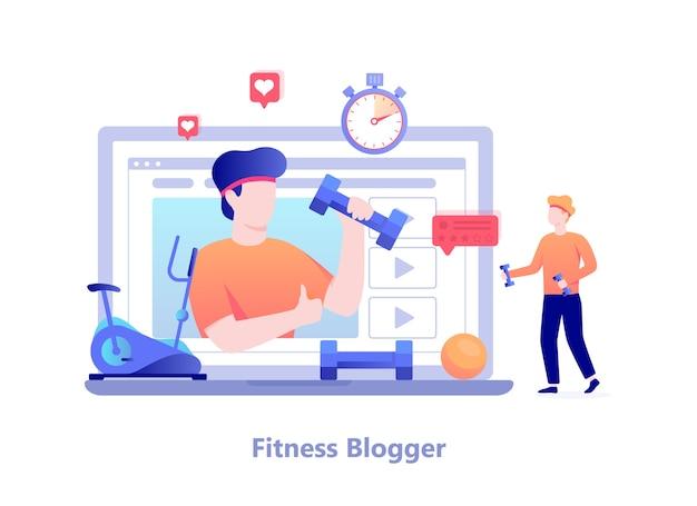 フィットネスブログのコンセプトです。トレーニングをしてインターネットで放送している男性キャラクター。ビデオチャンネル、健康的なライフスタイル。図