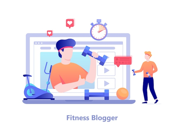 Fitness blog concept. male character doing workout and broadcast in the internet. video channel, healthy lifestyle.  illustration