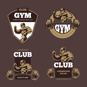 Fitness and bodybuilder sports retro emblems, labels, badges, logos.