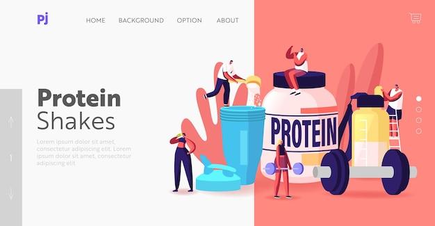 피트니스, 보디 빌딩 음식 방문 페이지 템플릿. 작은 캐릭터는 체육관에서 셰이커에서 단백질 칵테일을 마십니다. 낚시를 좋아하는 영양, 건강한 생활 방식. 근육을 펌핑하는 사람들. 만화 벡터 일러스트 레이 션