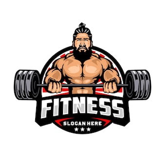 Fitness and bodybuilding mascot logo template