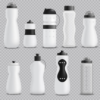 Fitness bottles realistic set transparent