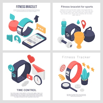 Fitness bracelet accessory banner set, isometric style