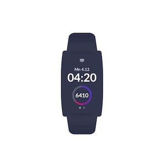 Fitness bracelet, activity tracker, step counter, ui design, vector