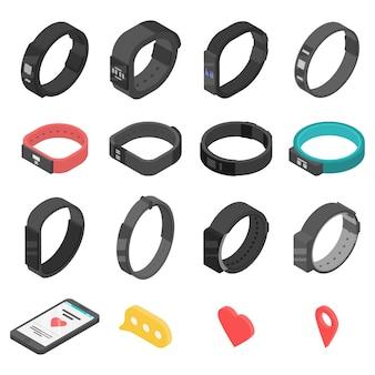Fitness bracelet icons set, isometric style