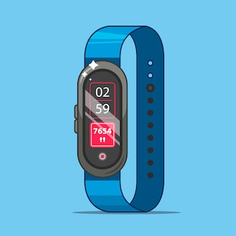 A fitness bracelet measures how many steps you took per day. flat   illustration