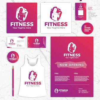 Fitness brand identity vector templates, logo, business card, id card, shirt, flyer, brochure, pin, pencil
