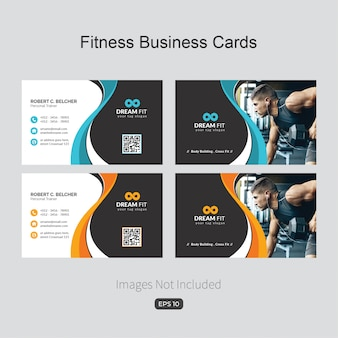 Fitness business card with wavy shapes