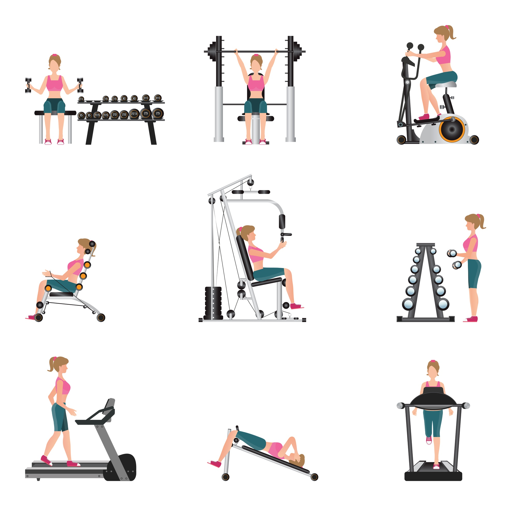 Fitness cardio exercise and equipment