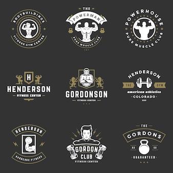 피트 니스 센터 및 스포츠 체육관 로고 및 배지 디자인 벡터 일러스트 레이 션을 설정합니다.
