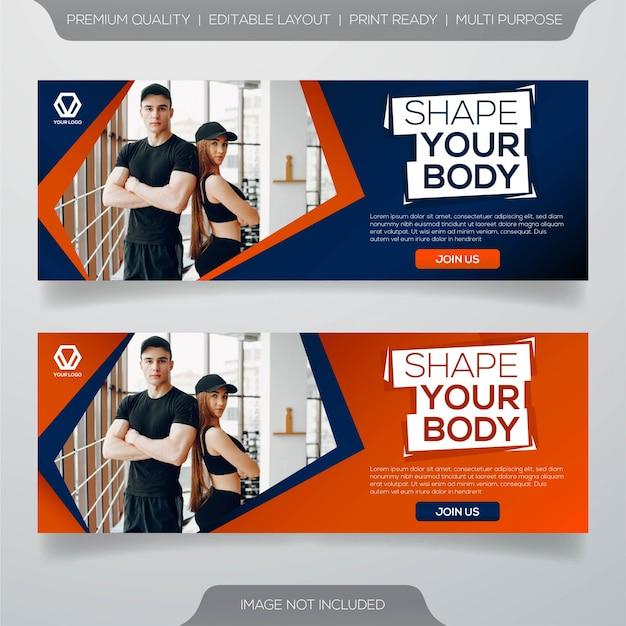 Fitness center banner template design