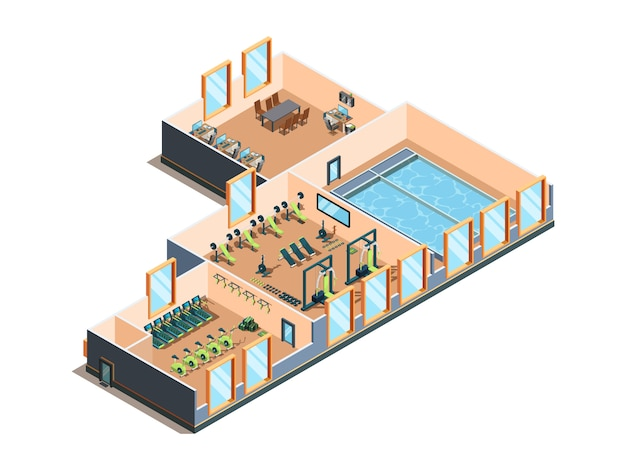 Fitness center. gym club and pool interior rooms with equipment cardio exercise aerobic training spa salon
