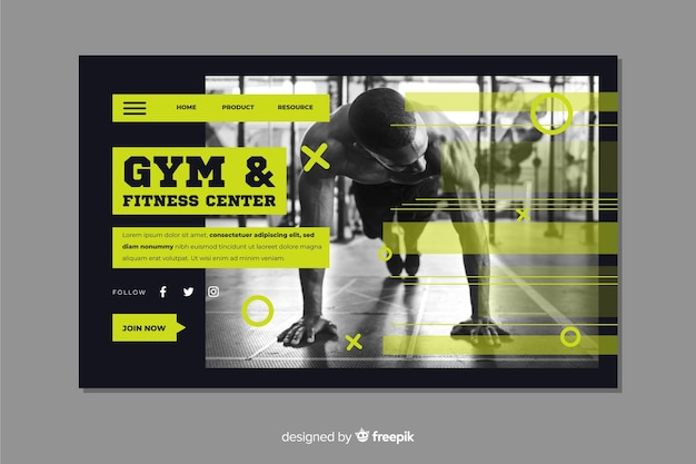 Fitness center and gym landing page