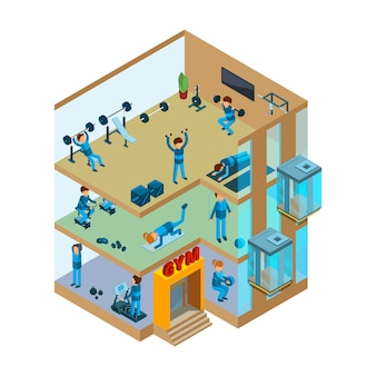Fitness center interior. gym sport club with classes for exercises and health massage  isometric