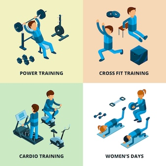 Fitness center isometric, sport athlete people making power and cardio exercise aerobic in gym
