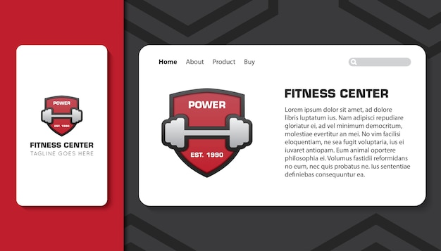 Fitness center for mobile app and landing page template
