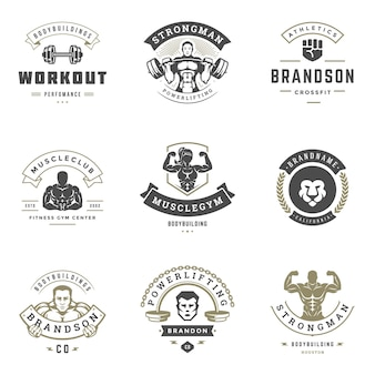 Fitness center and sport gym logos and badges design set illustration