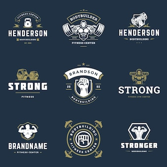 Fitness center and sport gym logos and badges design set illustration