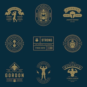 Fitness center and sport gym logos and badges  set  illustration.