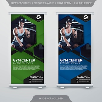 Fitness center stand xbanner rollup template design