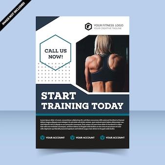 フィットネスセンター今日からトレーニングを開始チラシテンプレートデザイン女性は体にフィット