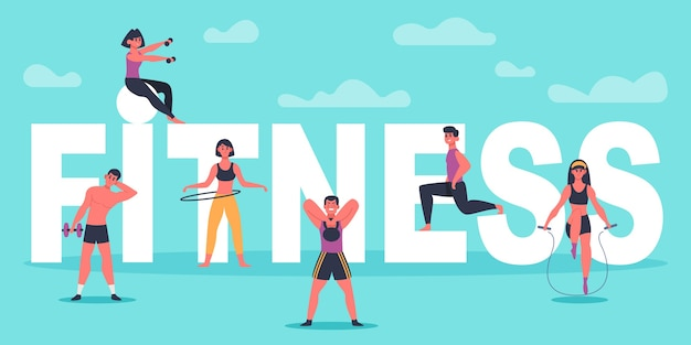 피트니스 캐릭터. 큰 피트니스 편지, 훈련 남자와 여자, 스포츠 운동 개념 그림 근처 운동하는 젊은 사람들. 피트니스 운동 활성, 건강한 스포츠 체육관, 신체 운동