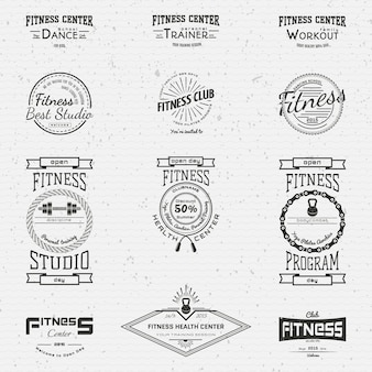 Fitness club badges logos and labels for any use
