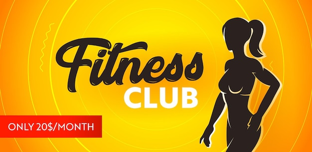 Fitness club banner, seasonal promo concept. sports poster with silhouette of athletic slim fit female body on yellow background, promotional sport banner or flyer for gym. vector illustration