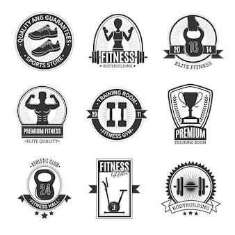 Фитнес-клуб черные и белые значки