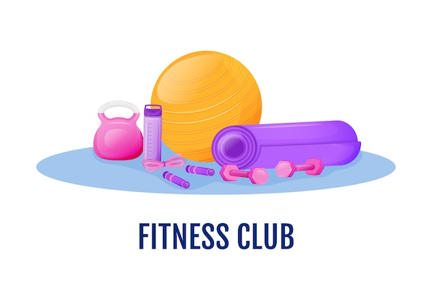 Fitness club flat concept illustration