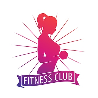 Fitness club logo, emblem with posing athletic girl with dumbbell over white