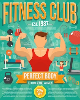 Fitness club poster with sport equipment and people doing workouts