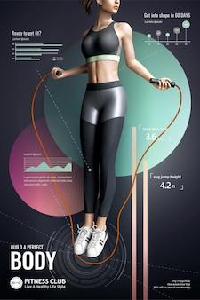 現代のポスターに細い女の子の縄跳びとフィットネスクラブ