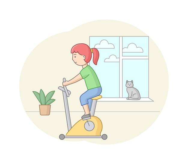 피트니스 개념, 건강, 바디 케어 및 액티브 스포츠. 여성 캐릭터가 체육관이나 집에서 운동 장비를 사용하고 있습니다. 젊은 여자는 페달링입니다. 선형 개요 플랫 스타일. 벡터 일러스트 레이 션.
