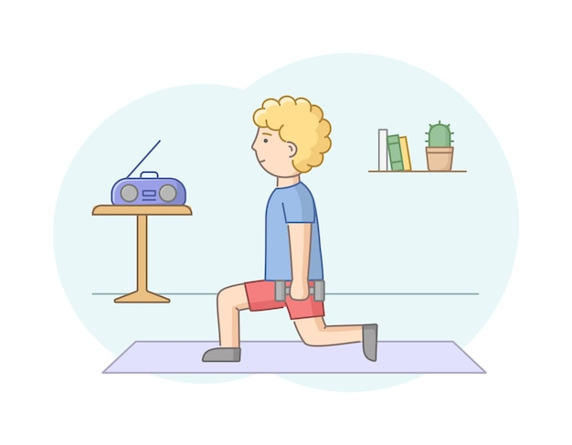 Fitness concept, health care and active sport. male character is exercising in gym or at home with music. young man do strength training with dumbbells. linear outline flat style. vector illustration.