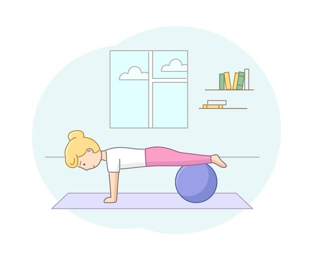 피트니스 개념, 건강 관리 및 활동적인 스포츠. 체육관에서 또는 피트니스 고무 공 집에서 운동하는 여성 캐릭터. 젊은 여자는 아침 운동을합니다. 선형 개요 플랫 스타일. 벡터 일러스트 레이 션.