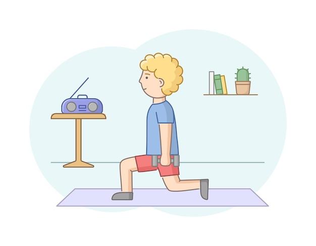 피트니스 개념, 건강 관리 및 활동적인 스포츠. 남성 캐릭터가 체육관이나 집에서 음악과 함께 운동하고 있습니다. 젊은 남자는 아령으로 강도 훈련을합니다. 선형 개요 플랫 스타일. 벡터 일러스트 레이 션.