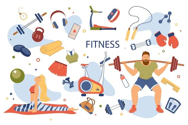 Набор изолированных элементов концепции фитнеса