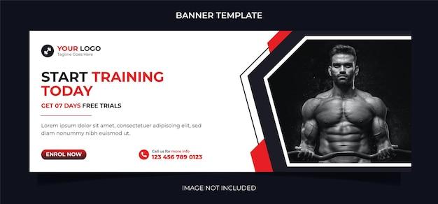 フィットネスコンセプトソーシャルメディアバナーデザインとエクササイズとジムトレーニング用のinstagram投稿テンプレート